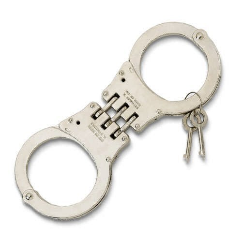(Hinged Nickel Plated Double Lock Handcuffs)