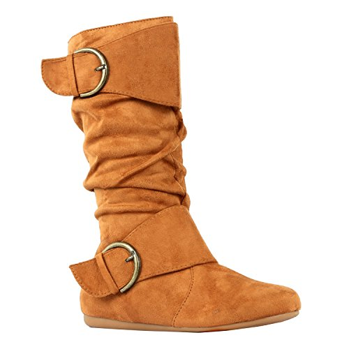 Guilty Shoes Womens Mid Calf Round Toe Buckle Slouched Flat Boots Boots, 70 Tan Suede, 8.5 (B) M US