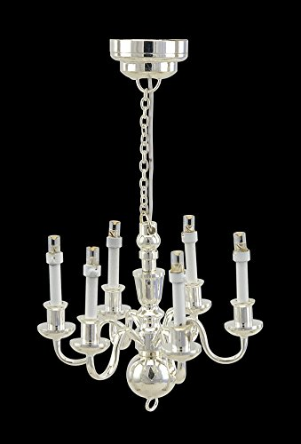 6 Arm silver Vicrorian chandelier LED Super bright with On/off switch FOR DOLLHOUSE MINIATURE 1:12 SCALE