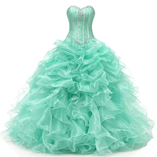 Angela Women's Sweetheart Beads Ball Gown Organza Quinceanera Dresses Prom Party Dresses (2, Mint Green)