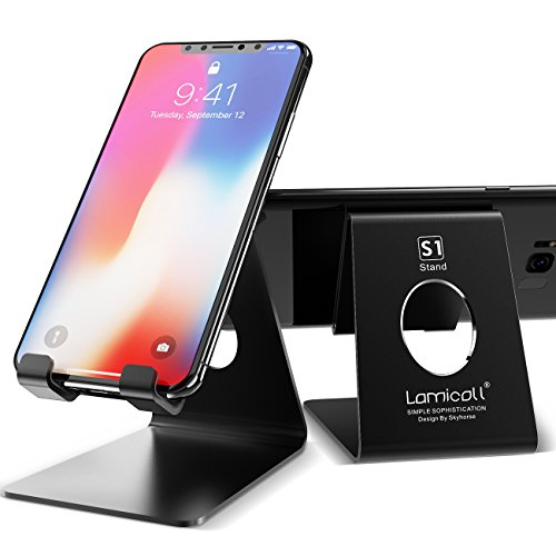 Cell Phone Stand, Lamicall Phone Stand : [2 Pack] Desktop Holder Cradle, Dock Compatible with Switch, all Android Smartphone, Phone 6 6s 7 8 X Plus 5 5s 5c, Universal Accessories Desk - Black from Lamicall
