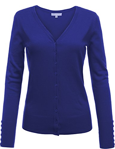 Button Front V-Neck Long Sleeve Soft Cardigan Tops