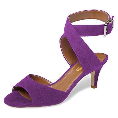XYD Women Low Kitten Heel Slingback Sandals Open Toe Buckled Cross Ankle Strap Summer Shoes Size 11 Purple/Suede