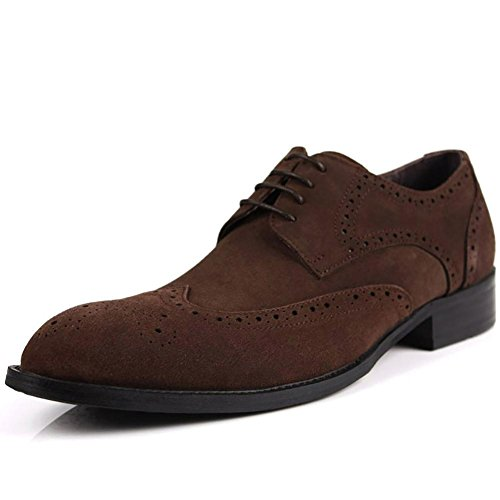 Herren Brock Nubukleder Carving Tipp Oxford Schuhe , brown , 40