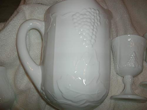 Indiana Glass Glass Pitcher - Indiana Glass Colony Milk Glass Pitcher with 8 Goblets