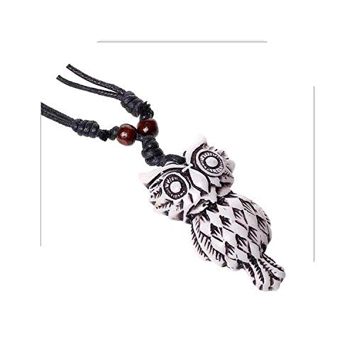 Enjoyourself Punk Resin Long Rope Wood Beads Necklace Vintage Bull Horn Owl Design Pendants Necklaces Gifts