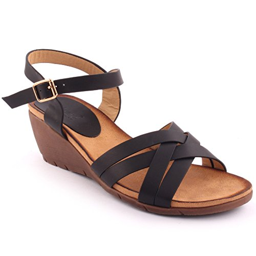 Unze New Women  Eric  Open Toe Wedge Sandals Summer Beach Travelling School Carnival Casual Shoes Uk Size 3 8   3T3950 2A