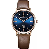 BRIGADA Swiss Brand Blue Men's Dress Watches for Mature Men Nice Business Casual Comfortable Leather Blue Brown Men Watches Waterproof with Date Calendar