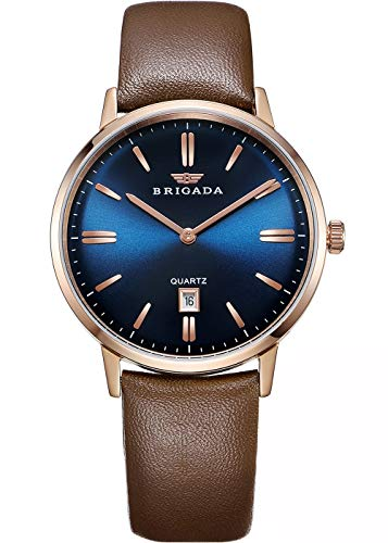 BRIGADA Swiss Brand Blue Men's Dress Watches for Mature Men Nice Business Casual Comfortable Leather Blue Brown Men Watches Waterproof with Date Calendar (Best Dress Watches Under 300)