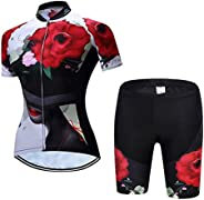 JPOJPO Cycling Jersey for Women Short Sleeve Bike Tops and Shorts Set