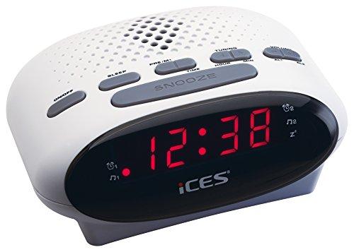 iCES ICR-210 Horlogeradio 2X wektijden, sluimerfunctie, slaaptimer, wit