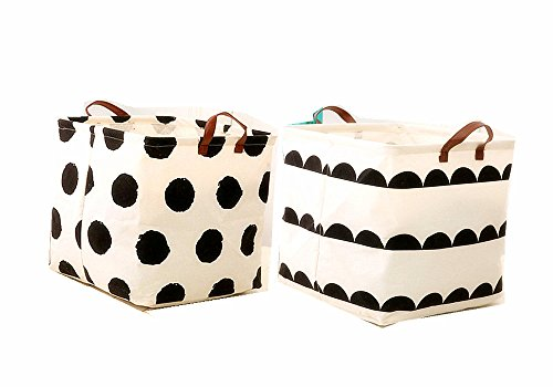 Leoyoubei 13 Inch Waterproof Coating Toy Storage Bin, Ramie Cotton Fabric Folding Laundry Hamper Bucket Storage Basket 2 Pack (Dot and Semicircle)