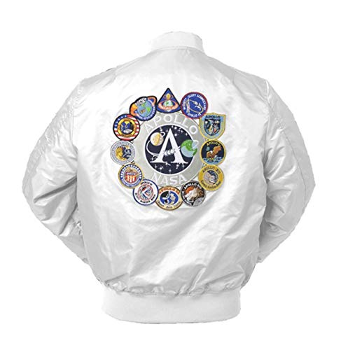 CORIRESHA Mens Apollo Space Embroidered Patches Slim Fit Bomber Jackets Windbreaker White