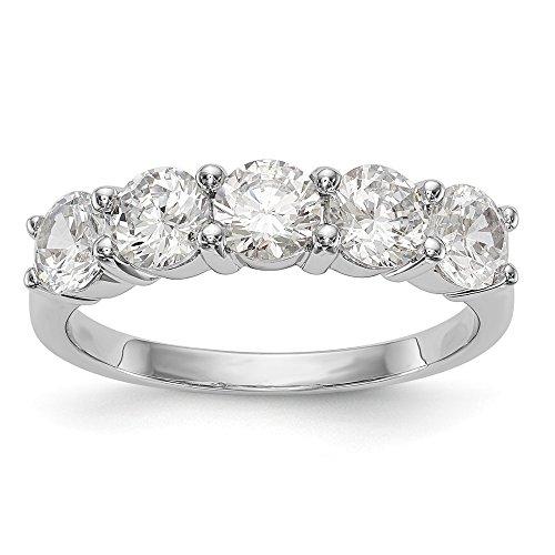 JewelrySuperMart Collection 1 7/8 CT 14k White Gold 5 Stone Diamond Anniversary Band. 1.85 ctw.