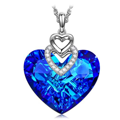 Sivery Christmas Day Gifts for Her 'Heart of Ocean' Pendant Necklace with Sapphire Swarovski Crystal, Jewelry for Women Gifts for Mom