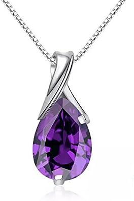 Plata esterlina 925 peardrop Violeta Cristal Colgante Collar /& Pendiente Conjunto