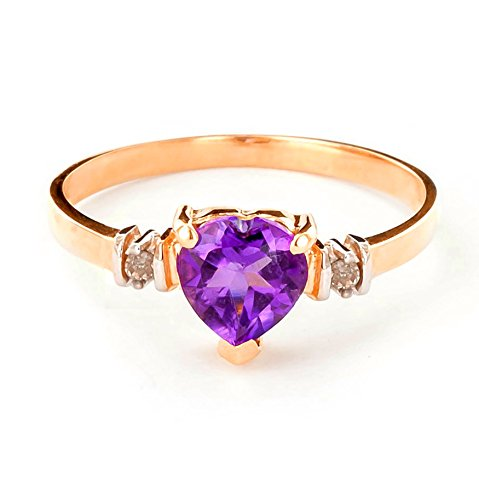 14k Gold Ring with Genuine Diamonds and Natural Heart-shaped Purple Amethyst (rose-gold, 5.5)