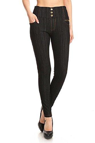 Jvini Women's High Waist Fleece-Lined Stretch Skinny Knit Denim Leggings One (Skinny Fleece)