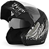 Vega Boolean Escape Flip-up Graphic Helmet with Double Visor (Dull Black and Silver, L)