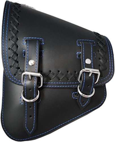 La Rosa Design All Harley-Davidson Softail/Rigid Frames Left Side Leather Saddle Bag-Black Leather with Crossed Lace Blue Thread - Edge Leather Saddlebag