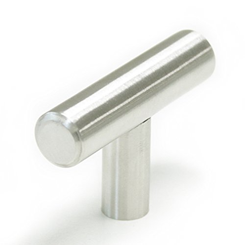 Brushed Chrome Single Handle - Probrico Stainless Steel Modern Cabinet Drawer Handle Pulls Kitchen Cupboard T Bar Knobs and Pull Handles Brushed Nickel - Single Hole - 15Pack