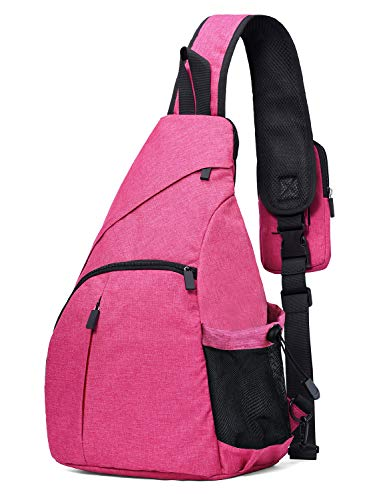 Jungle Buff Sling Bag Shoulder Backpack Plus Size Crossbody Backpack for Hiking, Day Trip, Travel, Sight-Seeing, Camping Rose ()