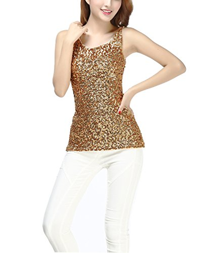 Mardi Gras Themed New Years Eve Party Performance Tank Halloween Costume Tops, Gold, Small -