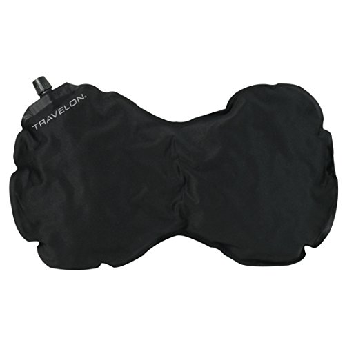 Travelon Luggage Self-Inflating Neck and Back Pillow, Black (Travelon Cool Mesh Back Support)