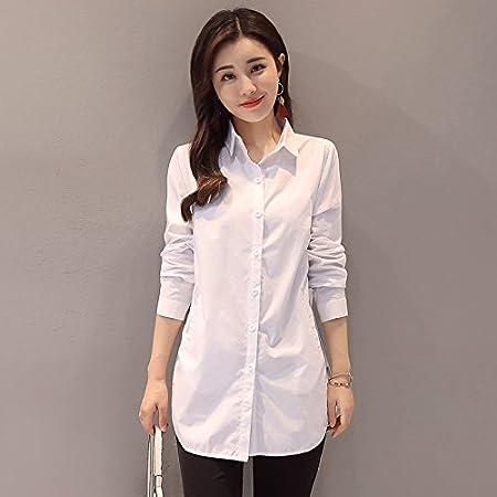 XXIN La Camisa Blanca, Larga Long-Sleeved Hembra/Liberal ...