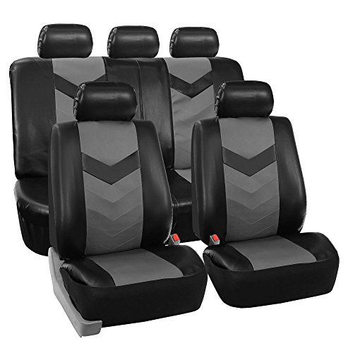 FH Group PU021115 Synthetic Leather Seat Covers, Airbag & Split Ready w. Steering Wheel Cover & Seat Belt Pads, Gray/Black Color- Fit Most Car, Truck, SUV, or Van
