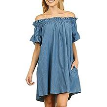 Plus Size Womens Off Shoulder Ruffles Bardot Denim Shirt Dress With Pocket