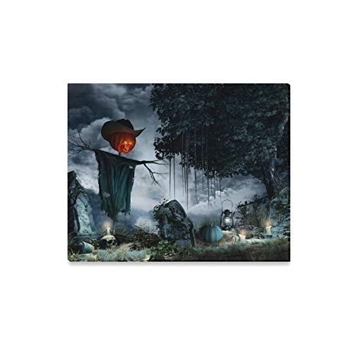 Wall Art Painting Halloween Scenery with Tombstones Candles and Scar Prints On Canvas The Picture Landscape Pictures Oil for Home Modern Decoration Print Decor for Living Room