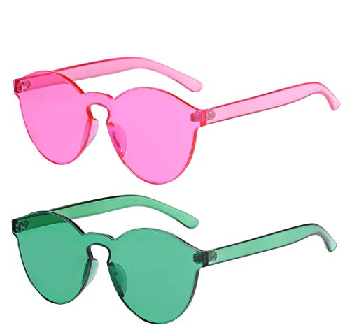 (One Piece Rimless Sunglasses Transparent Candy Color Tinted Eyewear(Rose Red+Green))