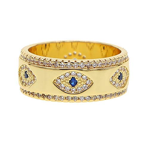 ATJMLADYJEWELRY US Size 6 7 8 Lucky Turkish Evil Eye Gold Wide Band Finger Ring for Women (7)