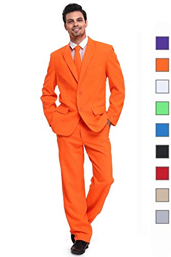 U LOOK UGLY TODAY Men's Party Suit Orange Solid Color Bachelor Party -