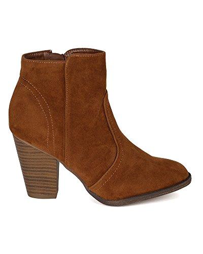Bootie Heel Suede Women Tan Round Breckelles BG23 Womens Chunky Ankle Toe Riding UZwqzY