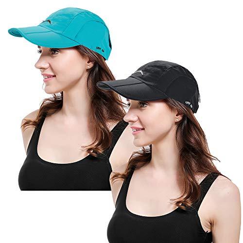 Women Baseball Cap Ponytail Hat High Bun Sun Hats Trucker Hat (2pcs-QuickDrying-Black&Blue) ()