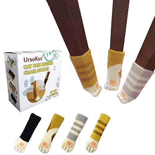 20PCS (5 Sets) Chair Socks Fancy Table Leg Pads with Cute Cat Paws Design, Reliable Furniture and Floor Protector, 4 Different Patterns + 1 Stripe Ginger Pattern - Pack of 20 socks