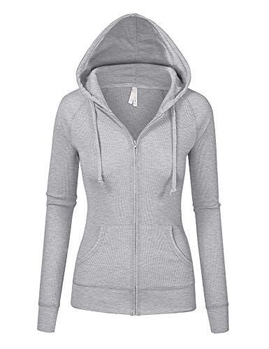 Womens Heather Gray Color Thermal Zip Up Casual Hoodie Jacket(8035-HEATHER Gray-L)