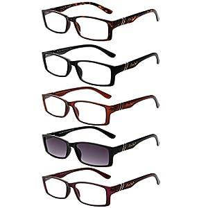 LianSan 5 Pairs Quality Rectangular Reading Glasses includes Sun Readers for Men Women Comfort Prescription Eyewear 6500(+2.25)