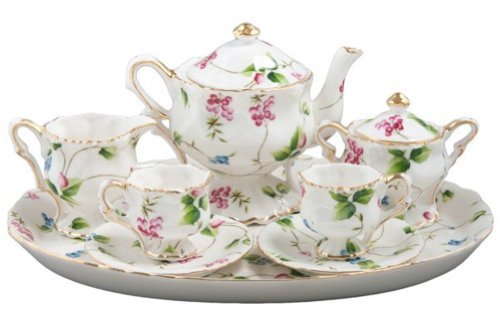 Children's 10 Piece Mini Tea Set for Two, Madison's Secret Garden, Gift Boxed