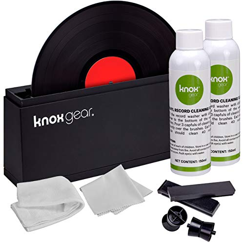 Knox Vinyl Record Cleaner Spin Kit - Washer Basin, Air Drying Rack, Cleaning Fluid, Brushes and Rollers Dryer and Microfiber Cloths - Washes and Dries 7
