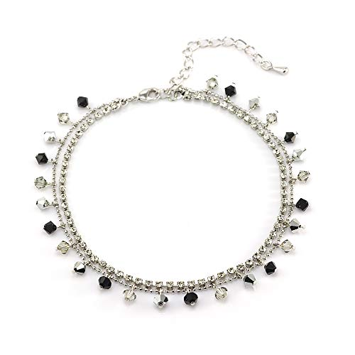 ed Brass Black and Grey Faceted Crystal and Cubic Zirconia CZ Anklet ()