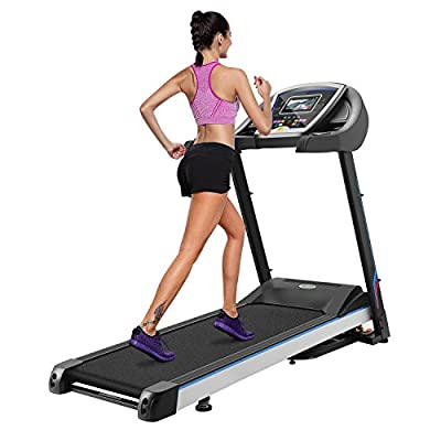 Foldable Electric Treadmill Running Machine Motorized Treadmill with Wheels Easy Assembly