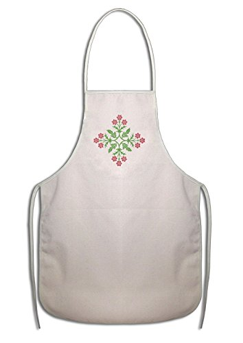 Cotton Duck Light - Light Green Plant Hot Pink Flowers #3 Cotton Duck Canvas Artist Apron Starfactr