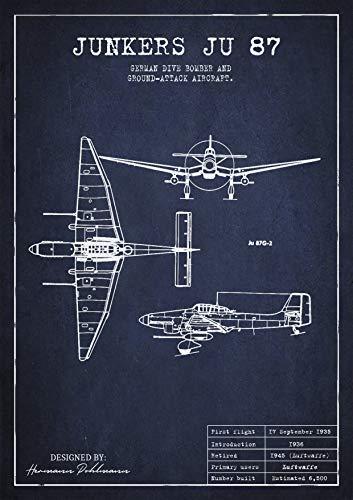 UpCrafts Studio Design Ju87 Stuka Patent Print Poster - WW2 German Junkers Junker Bomber Plane Luftwaffe Collectibles Wall Decor (Blue & White, 24x36 -