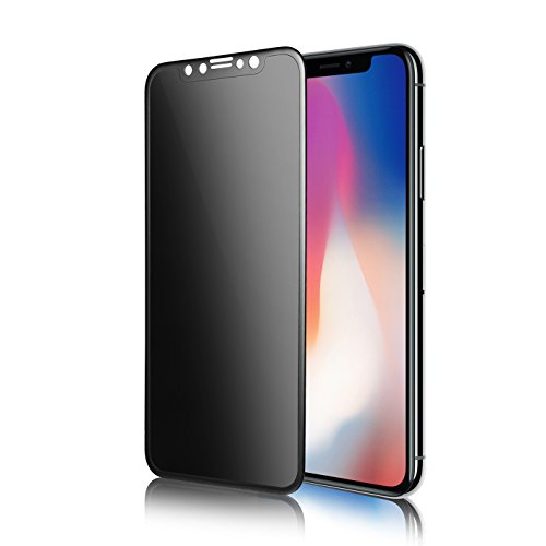 TECHO Privacy Screen Protector for iPhone X, Anti Spy 9H Tempered Glass for Apple iPhone 10, Edge to Edge Full Cover Screen Protector [Full Coverage] [Easy Install] by TECHO
