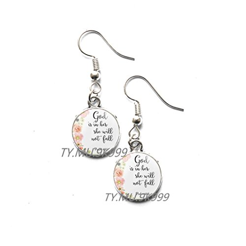 Yao0dianxku PSALM 46:5 Stud Earrings Scripture Jewelry God is Within Her she will not fail Encouragement Bible Quote Stud Earrings,Christian Gift Faith Hope Comfort.Y092 (2)