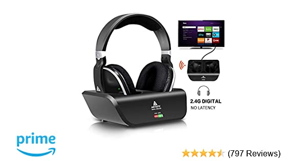 Amazon.com  Wireless Headphones for TV with RF Transmitter for Netflix Hulu  Watching and Listening-Digital Over Ear Cordless TV Headphones Rechargeable  20 ... 23ae549d6a