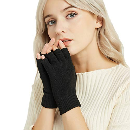 (Novawo Cashmere Wool Blend Fingerless Gloves Warm Arm Warmers)